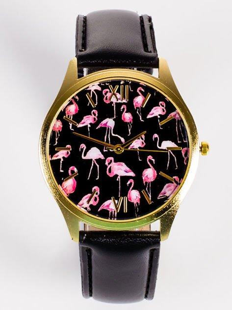Złoty zegarek damski z tarcza z FLAMINGAMI                                   zdj.                                  1