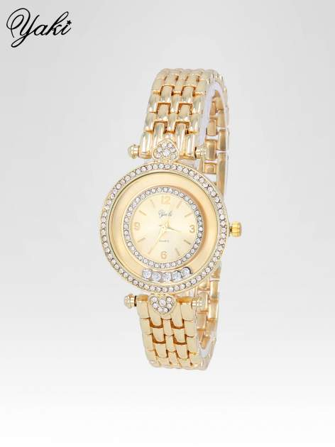 Złoty zegarek na bransolecie z cyrkoniowym serduszkiem                                  zdj.                                  2