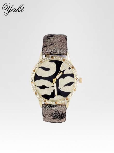Złoty zegarek na pasku z motywem KISS                                  zdj.                                  1