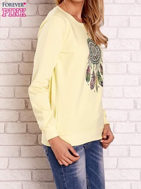 Żółta bluza z nadrukiem łapacza snów                                  zdj.                                  3