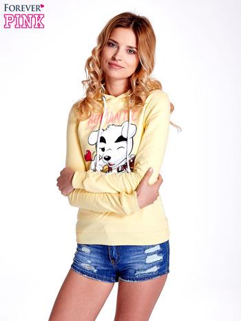 Żółta bluza z nadrukiem psa                                  zdj.                                  1