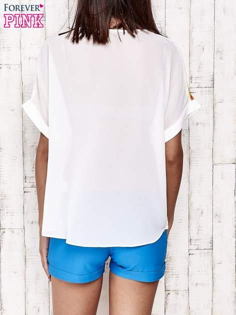 Żółta bluzka koszulowa z nadrukiem łąki                                   zdj.                                  5