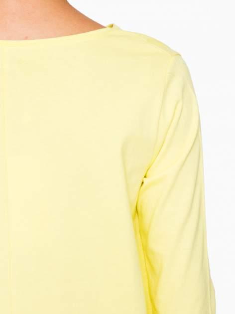 Żółta bluzka o rozkloszowanym kroju z rękawem 3/4                                  zdj.                                  9