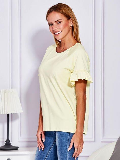 Żółta bluzka z falbanami na rękawach                                  zdj.                                  5