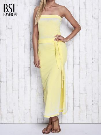 Żółta dekatyzowana sukienka maxi na gumkę                                  zdj.                                  1