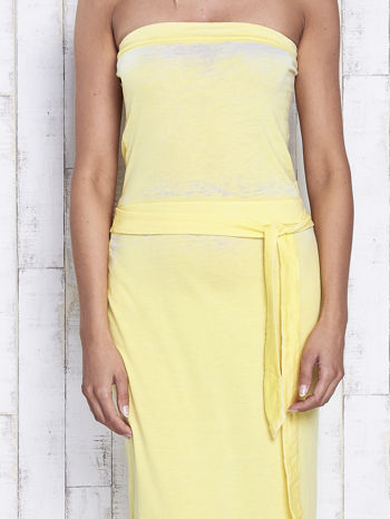Żółta dekatyzowana sukienka maxi na gumkę                                  zdj.                                  5