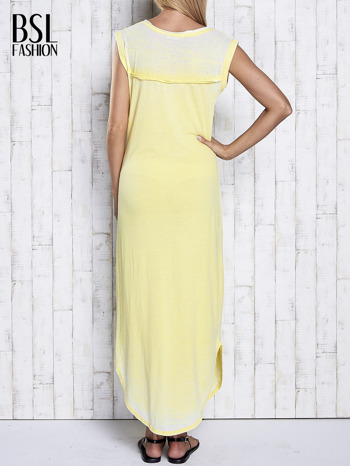 Żółta długa sukienka acid wash                                   zdj.                                  2
