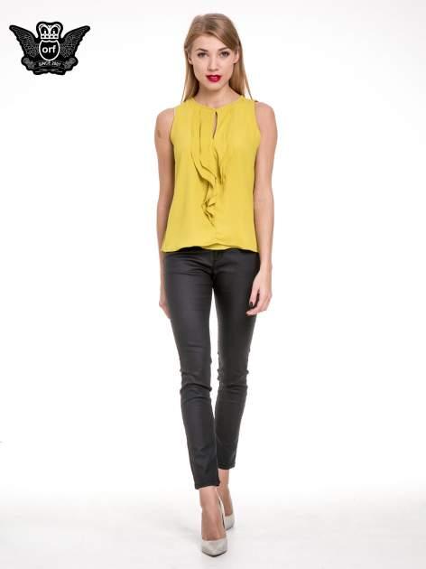 Żółta elegancka koszula z żabotem                                  zdj.                                  2