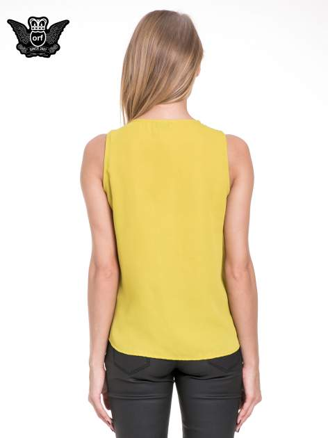 Żółta elegancka koszula z żabotem                                  zdj.                                  4