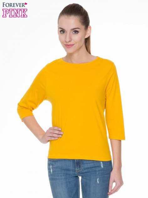 Żółta gładka bluzka z rękawem 3/4                                  zdj.                                  1