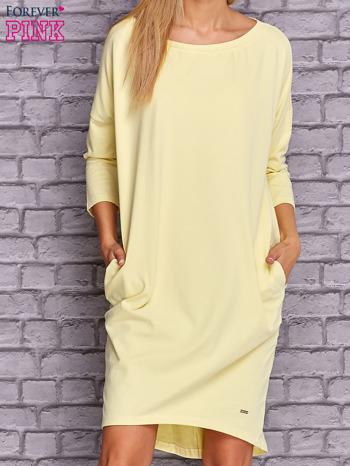 Żółta gładka sukienka oversize                                  zdj.                                  1