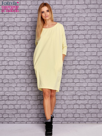 Żółta gładka sukienka oversize                                  zdj.                                  2