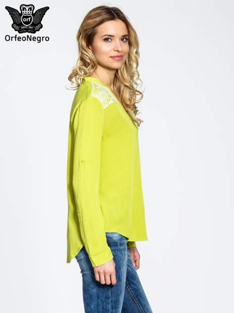 Żółta koszula damska z haftem na ramionach                                  zdj.                                  3