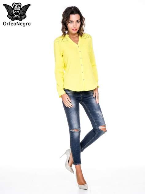 Żółta koszula z ażurowaniem na górze i kieszonką                                  zdj.                                  2