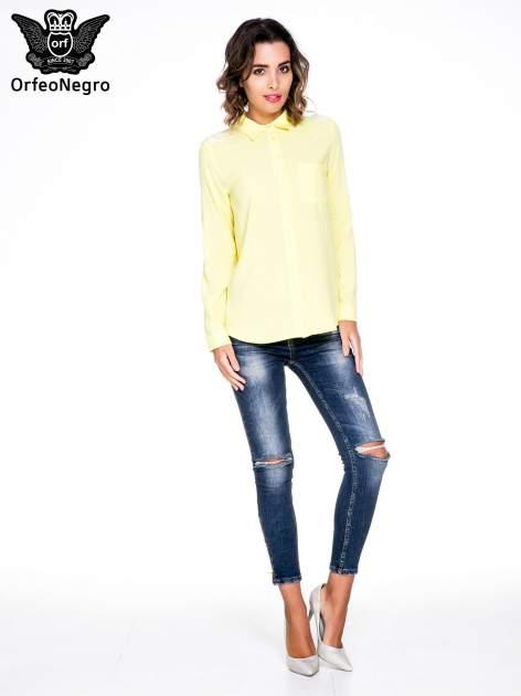 Żółta koszula z haftem na ramionach i plecach                                  zdj.                                  2