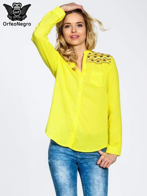Żółta koszula z haftem w azteckie wzory                                  zdj.                                  1
