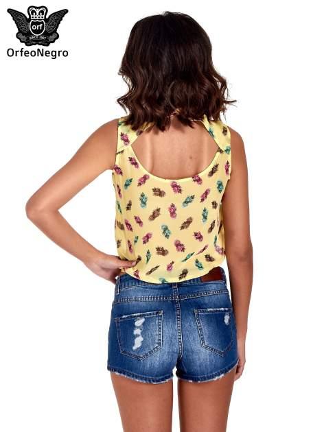Żółta koszula z wiązaniem w ananasy                                  zdj.                                  4