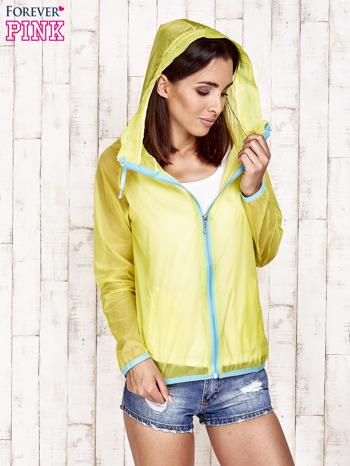 Żółta kurtka wiatrówka z niebieskim suwakiem                                  zdj.                                  5