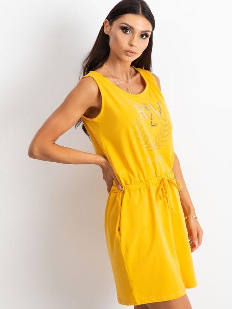 Żółta sukienka Embellishment                              zdj.                              3