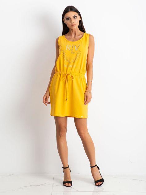 Żółta sukienka Embellishment                              zdj.                              4