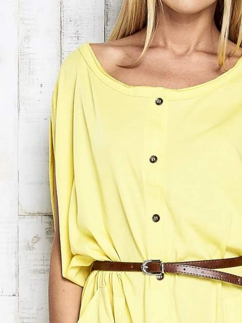 Żółta sukienka oversize z guzikami                                  zdj.                                  6