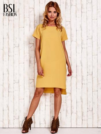 Żółta sukienka z dłuższym tyłem                                  zdj.                                  2