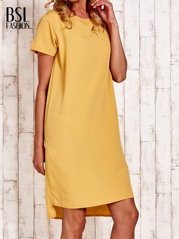 Żółta sukienka z dłuższym tyłem                                  zdj.                                  3