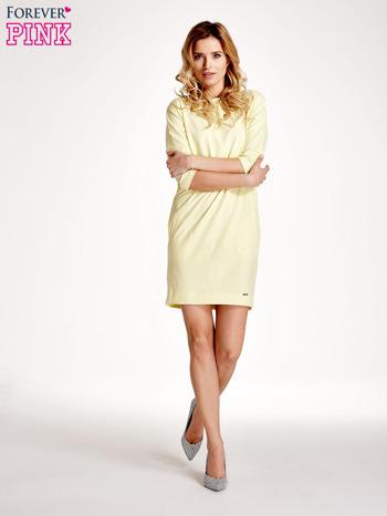 Żółta sukienka z rękawem za łokieć                                  zdj.                                  7