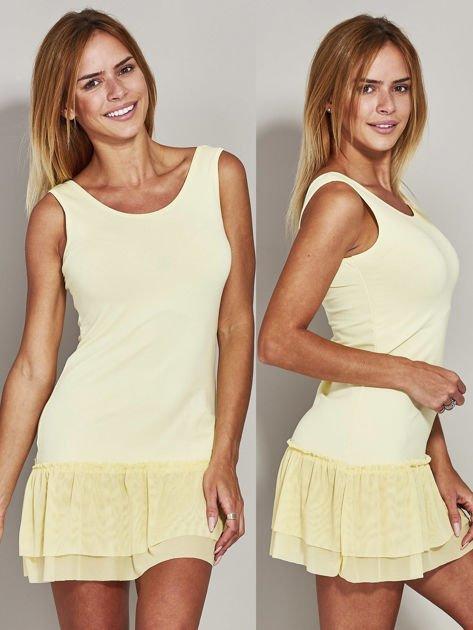 Żółta sukienka z tiulową falbaną                              zdj.                              1