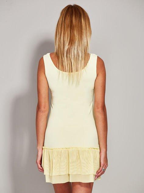 Żółta sukienka z tiulową falbaną                              zdj.                              2