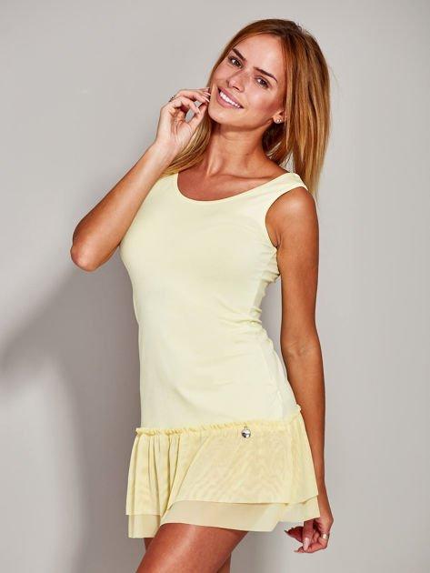 Żółta sukienka z tiulową falbaną                              zdj.                              6