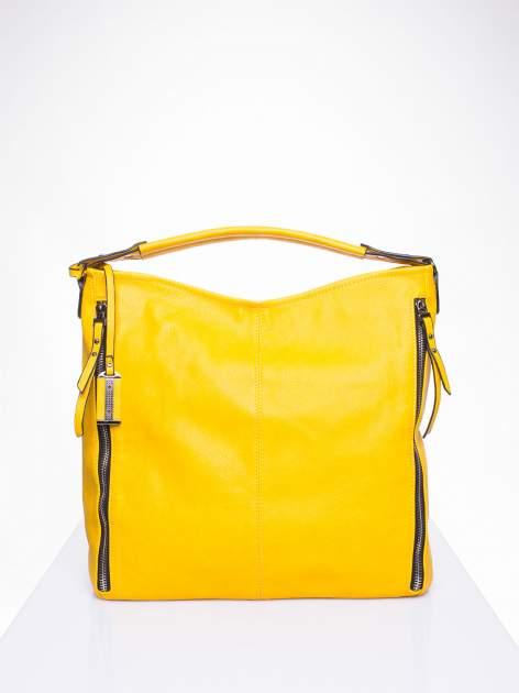 Żółta torba hobo z suwakami po bokach                                  zdj.                                  2