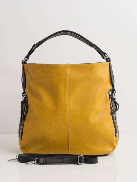 Żółta torba miejska ze skóry ekologicznej