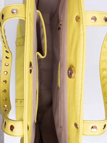 Żółta torba shopper z kolorowymi ćwiekami                                  zdj.                                  4