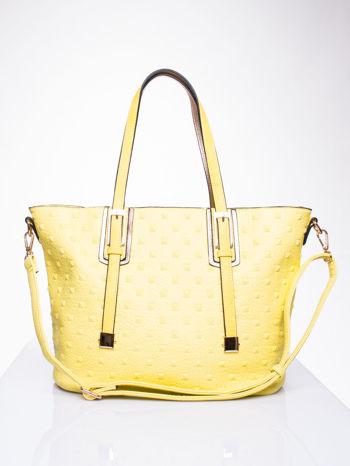 Żółta torba z klamrami i odpinanym paskiem                                   zdj.                                  1