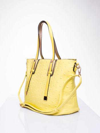 Żółta torba z klamrami i odpinanym paskiem                                   zdj.                                  3