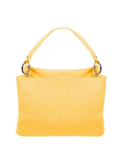 Żółta torebka na ramię tłoczona na wzór skóry krokodyla                                  zdj.                                  1