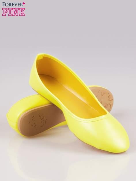 Żółte gładkie balerinki eco leather ze skóry ekologicznej                                  zdj.                                  4