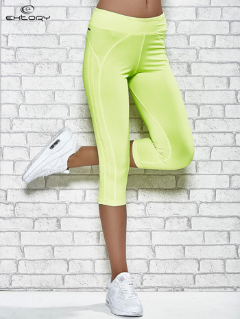 Żółte legginsy 3/4 sportowe termalne z lampasami