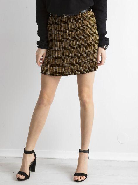 Żółto-czarna plisowana spódnica we wzory                              zdj.                              5