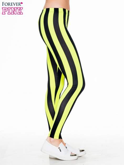 Żółto-czarne wyszczuplające legginsy w pionowe paski                                  zdj.                                  3