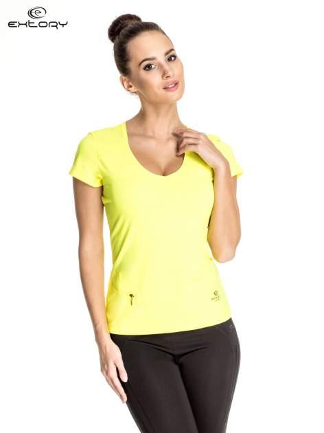 Żółty damski t-shirt sportowy z kieszonką