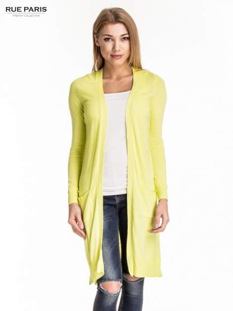 Żółty długi sweter kardigan z rozporkami                                  zdj.                                  1