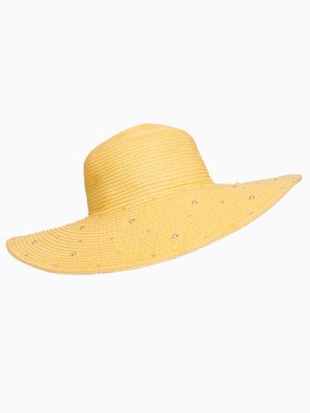 Żółty kapelusz z dużym rondem i dżetami                                  zdj.                                  4