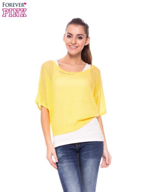 Żółty siateczkowy sweter oversize