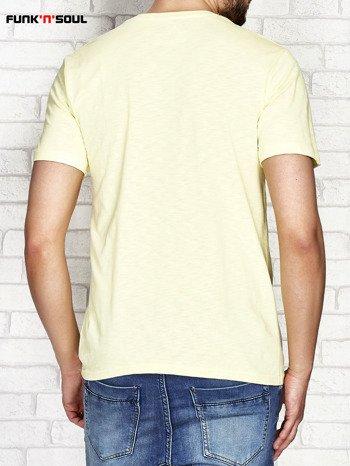 Żółty t-shirt męski z nadrukiem FUNK N SOUL