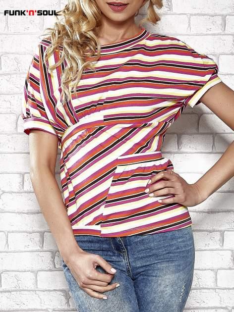 Żółty t-shirt w kolorowe paski FUNK N SOUL                                  zdj.                                  1
