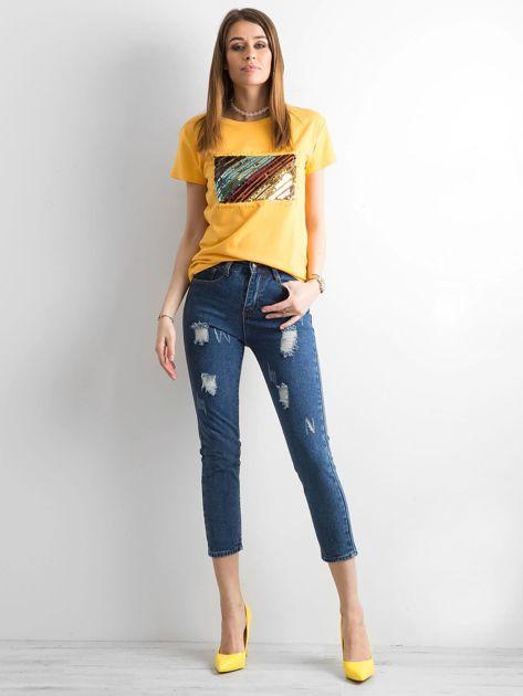 Żółty t-shirt z cekinami                              zdj.                              4