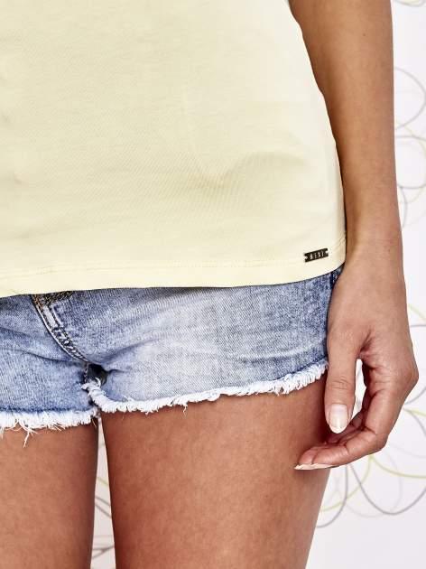 Żółty t-shirt z koronkowym wykończeniem rękawów                                  zdj.                                  6