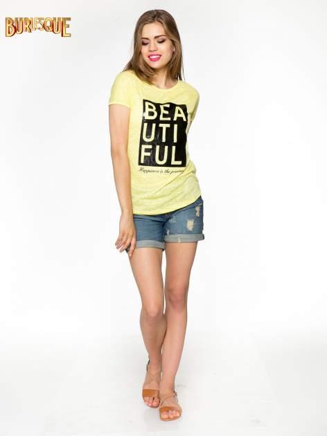 Żółty t-shirt z nadrukiem BEAUTIFUL                                  zdj.                                  4